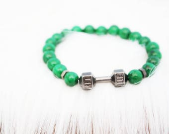 Mens green gems and barbell charm beaded bracelet