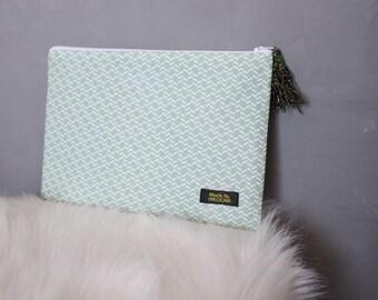 Jewel green almond/white tassel bag