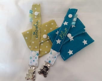 set of 2 matching colors with customizable stars fabric pacifier clip