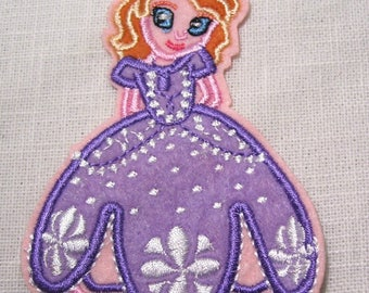 Princess SOFIA purple girl * 7 x 10 cm * Applique badge patch embroidered iron - iron