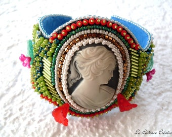 various hand embroidered rococo style Cuff Bracelet