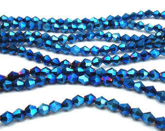 100 metallic 4 mm blue glass faceted beads