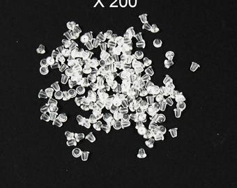 200 buttons in translucent silicone earrings 4 mm