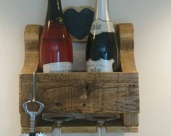 2 bottle wine and glass rack