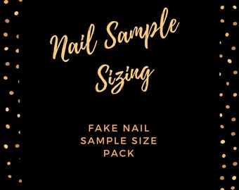 Sample Sizing Press On Nail Pack| Faux Nails| Fake Nails| Size Guide|Size Sample