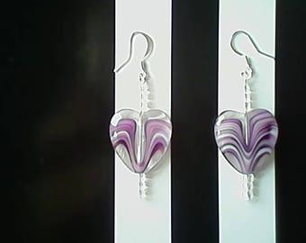 Purple Glass Heart Earrings