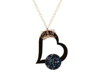 Designer Heart Necklace with Gold Filled Crochet Pendant and Swarovski Crystal will complete any look