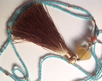 caramel beige tassel, Pearl Heart, blue Choker necklace
