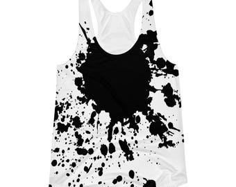 Women's black splatter Racerback Tank, minimalist tank top, abstract top
