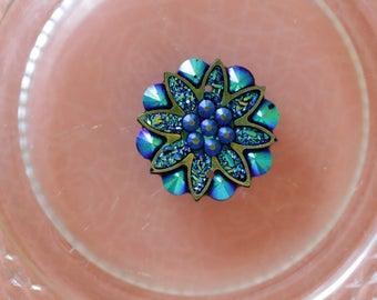 Blue cabochon flower scrapbooking