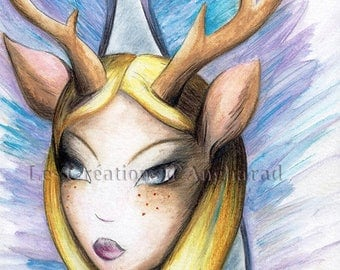Watercolor on the Peryton mythological theme