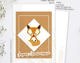 Carte d'anniversaire Renard - Carte postale illustration - Carte Joyeux anniversaire Enfant et Adulte