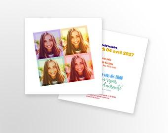 Birthday invitation card - A customize - model Popart - birthday invitation card - child/adult