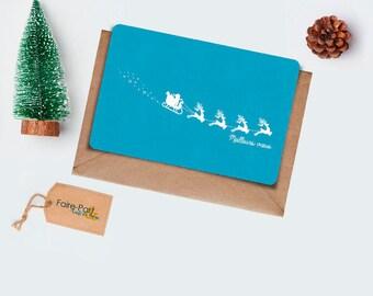 Christmas card / Father Christmas card Christmas blue