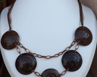 """Polymer clay copper """"fossil"""" necklace"""