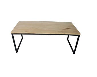 Table coffee steel and wood sleek chic / industrial