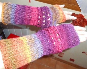multicolored openwork stitch knit acrylic fingerless gloves