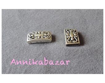 Ethnic, 23 x 12 mm silver metal rectangular bead