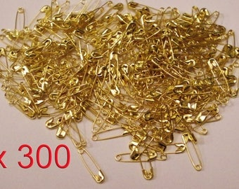 Set of 300 Mini pins for safety in Metal Golden 19 x 5 mm.