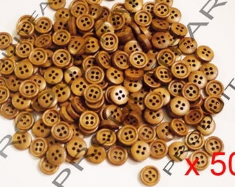 Set of 50 buttons 4 hole 11 mm coffee wood