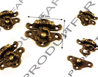 Set of 6 clasps latch lock box jewelry box casket 28 X 24 mm