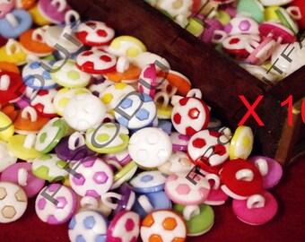 Multicolor 100 buttons fancy shape ball 13 mm