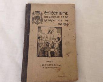 Vintage French Latin Prayer Book Catholic Catechism Book With Vintage Menier Graf Bookmarks 1914 ( Ref No. Z39 )