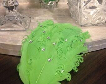 Applique feather rhinestone Green 15 cm