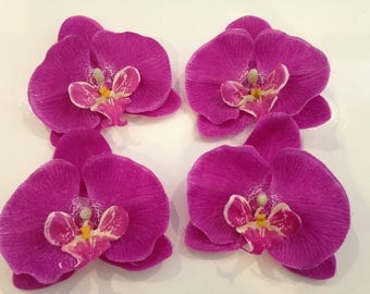 set of 4 appliques flowers 9 cm Purple Orchid