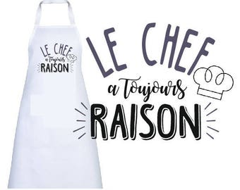"""KITCHEN apron adult """"the chef is always right"""