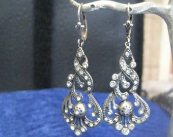 Antique Pendant earrings Silver with paste