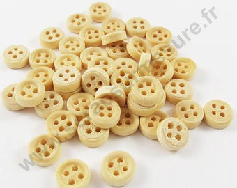 Natural wood - 10mm - x48pcs decorative button