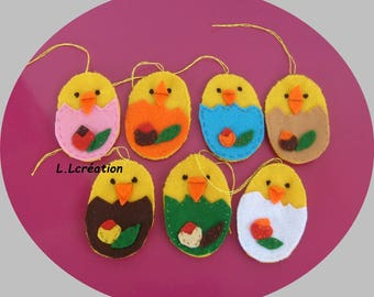 Easter chick hanging felt
