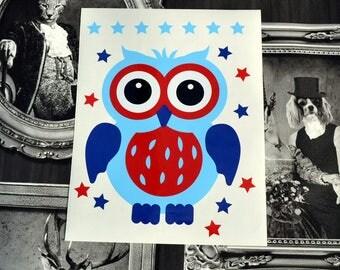 Sticker little OWL to adopt. Decor kids vinyl sticker