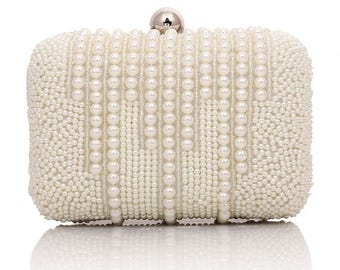 White Pearl Wedding, Formal Party, Evening Clutch Bag