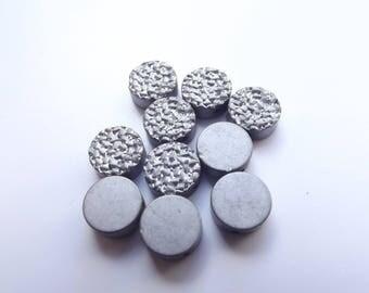 10 beads hematite titanium silver matte 8 x 3 mm STAR-225