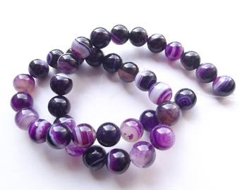 38 round beads 10 mm purple agate TRIAL-112