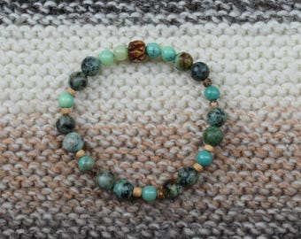 Blue African Turquoise and Green Chrysoprase