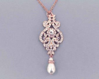 Rose gold wedding necklace, Rhinestone necklace, Pearl necklace, Bridal necklace, Art Deco necklace, Bridal jewelry, Wedding jewelry