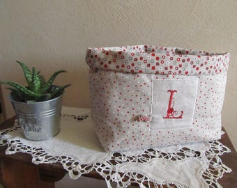 """Large Monogram """"L"""", red and ecru tidy!"""
