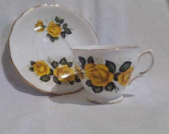 Royal Vale Yellow Rose Bone china teacup and saucer