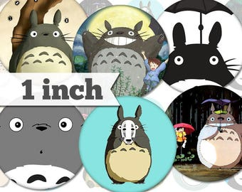 1 inch - My Neighbor Totoro - 14 Images - Printable INSTANT DIGITAL DOWNLOAD - Pendants, Bottle Caps, Magnets, Buttons, Collage Sheet - a019
