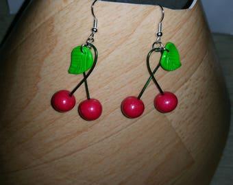all handmade fimo cherry earrings