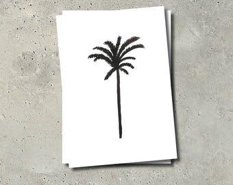Black Palmtree Postcard