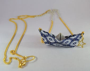 Ship Natsu 夏 Japanese paper origami necklace