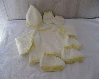 baby jacket, bonnet, booties, mittens set