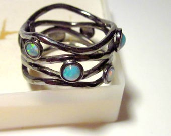 Hand crafted Sterling Silver Ring, Size 6.,25, 7 Australian Opals