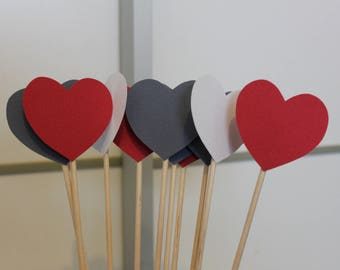 went 50 hearts wedding decoration red white and silver / sticks with hearts