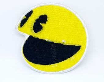 636# Pac Man Smiley Face Kids Children Embroidered Iron On Patch yellow