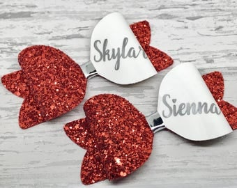 Red and Gold Glitter Personalised Hair Bow, Christmas Bow, Girls Name Christmas Gift